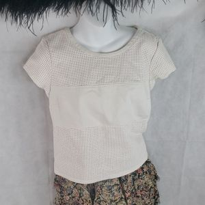 GUESS off white faux leather eyelet top medium